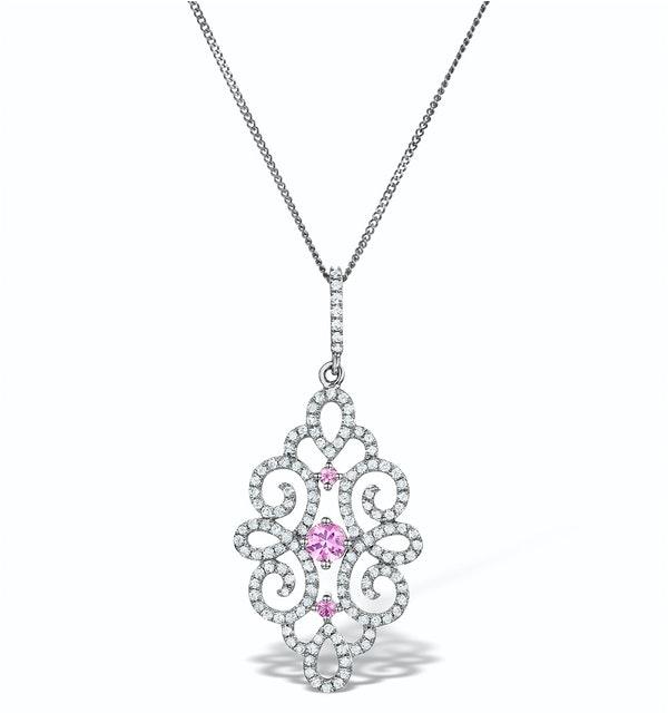 Vivara Diamond and Pink Sapphire 9K Gold Pendant Necklace G4068Y - image 1
