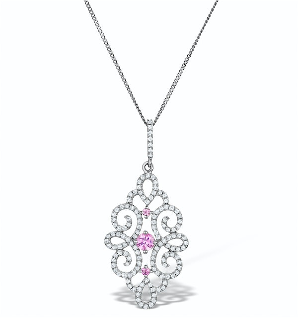 Vivara Collection Diamond and Pink Sapphire 9K Gold Pendant G4068Y - image 1