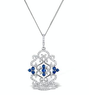 Vivara Diamond and Sapphire 9K White Gold Pendant Necklace G4069