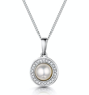 Pearl and Diamond Halo Stellato Pendant in 9K White Gold