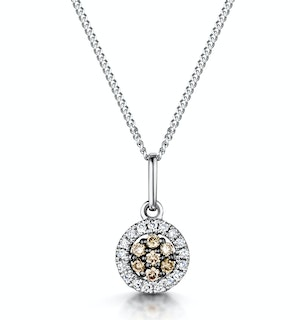 Stellato Champagne Diamond Halo Pendant 0.13ct in 9K White Gold