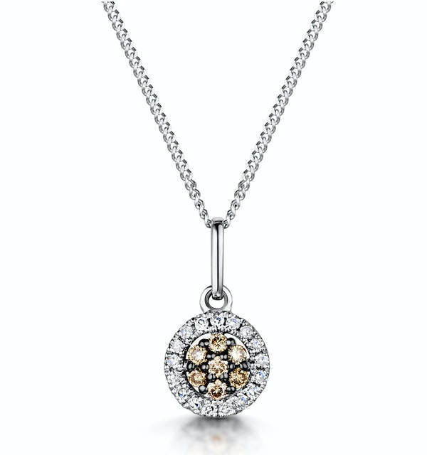 Stellato Champagne Diamond Halo Pendant 0.13ct in 9K White Gold - image 1