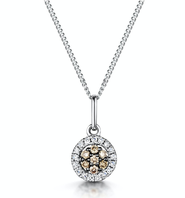 Stellato Champagne Diamond Halo Pendant 0.13ct in 9K White Gold - image 1
