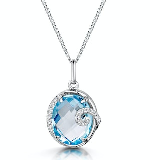 Blue Topaz and Diamond Stellato Collection Pendant in 9K White Gold