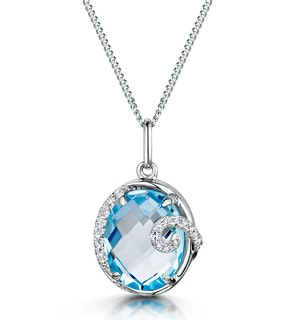 Blue Topaz and Diamond Stellato Pendant Necklace in 9K White Gold