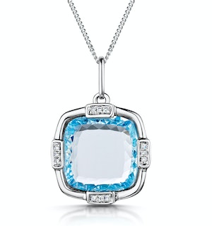 Blue Topaz and Diamond Stellato Pendant 0.04ct in 9K White Gold