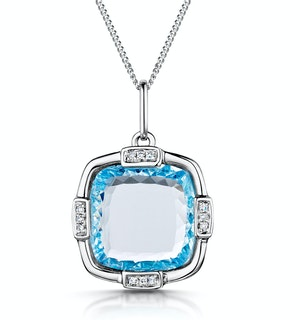 Blue Topaz and Diamond Stellato Pendant Necklace in 9K White Gold