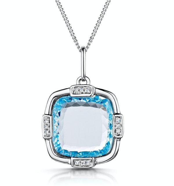 Blue Topaz and Diamond Stellato Pendant Necklace in 9K White Gold - image 1
