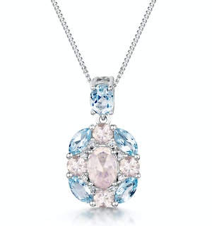 Rose Quartz Blue Topaz and Diamond Stellato Pendant 9K White Gold