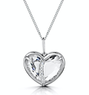 White Topaz and Diamond Stellato Pendant in 9K White Gold
