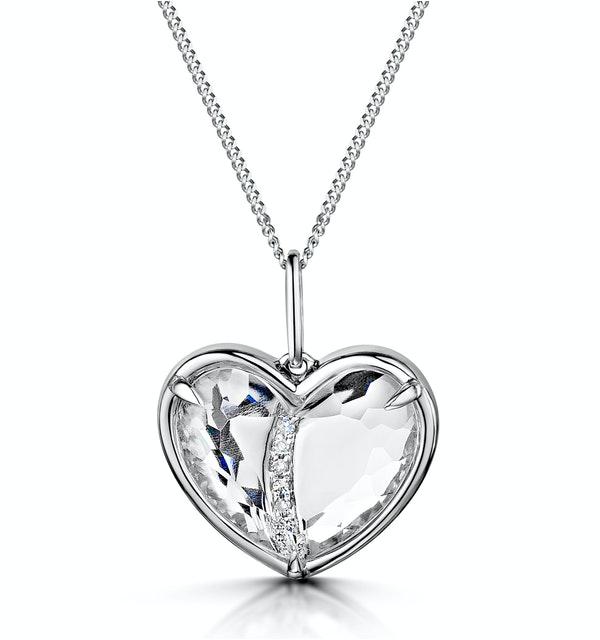 White Topaz and Diamond Stellato Pendant Necklace in 9K White Gold - image 1