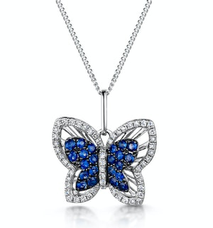 Stellato Sapphire and Diamond Butterfly Pendant Necklace 9K White Gold