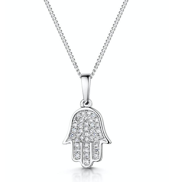 Stellato Diamond Hamsa Pendant Necklace 0.13ct 9K in White Gold - image 1