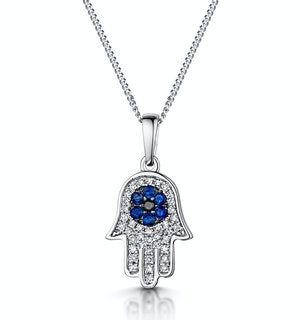 Sapphire Black Diamond Hamsa Evil Eye Stellato Pendant 9K White Gold