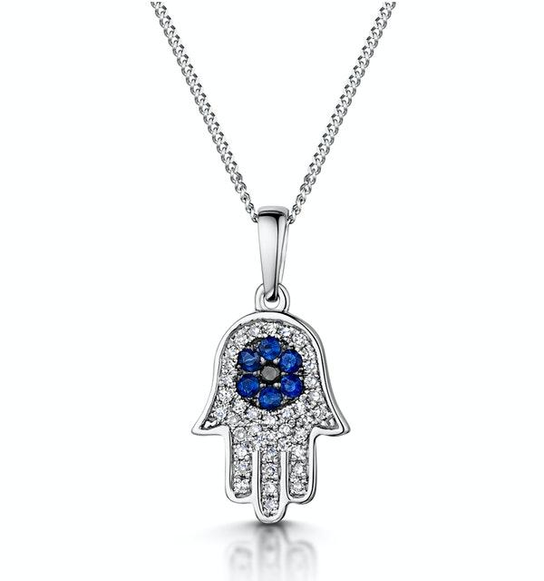 Sapphire Black Diamond Hamsa Evil Eye Pendant Necklace 9K White Gold - image 1