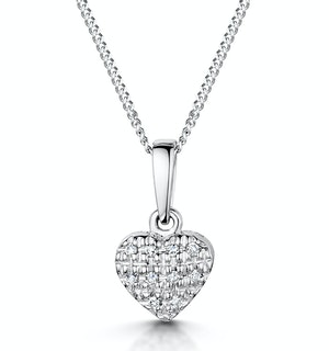 Stellato Diamond Heart Pendant Necklace 0.04ct in 9K White Gold