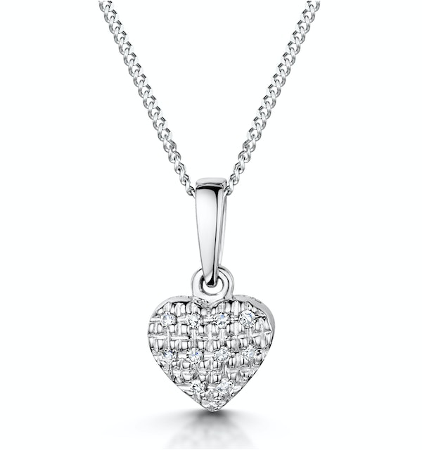 Stellato Diamond Heart Pendant Necklace 0.04ct in 9K White Gold - image 1