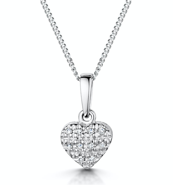 Stellato Collection Diamond Heart Pendant 0.04ct in 9K White Gold - image 1