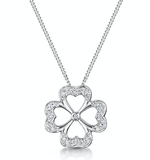 4 Leaf Clover Diamond Necklace in 9K White Gold - Stellato Collection
