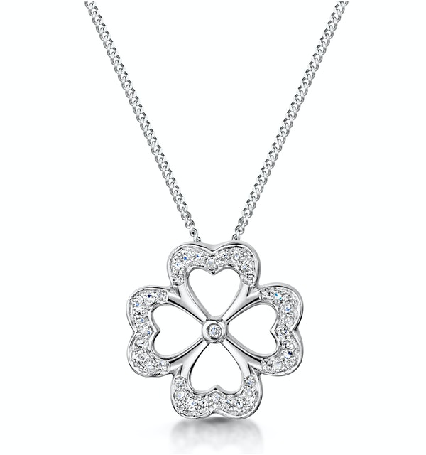 4 Leaf Clover Diamond Necklace in 9K White Gold - Stellato Collection - image 1
