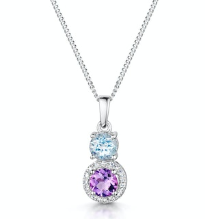 Amethyst Blue Topaz and Diamond Pendant Necklace in 9K White Gold