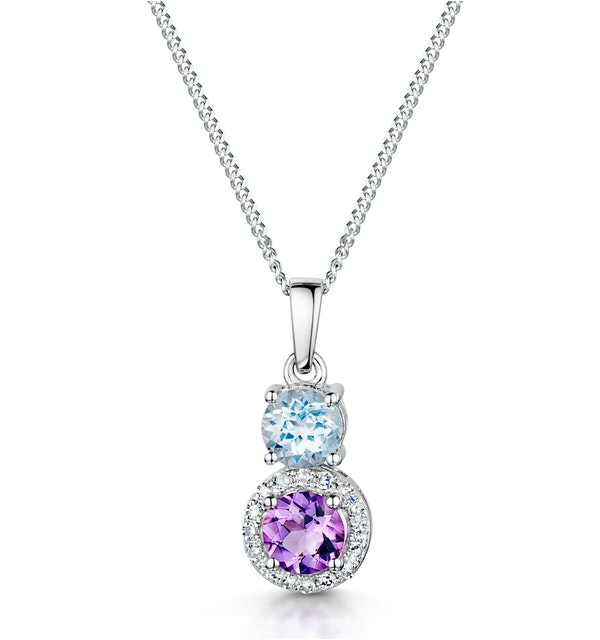 Amethyst Blue Topaz and Diamond Pendant Necklace in 9K White Gold - image 1