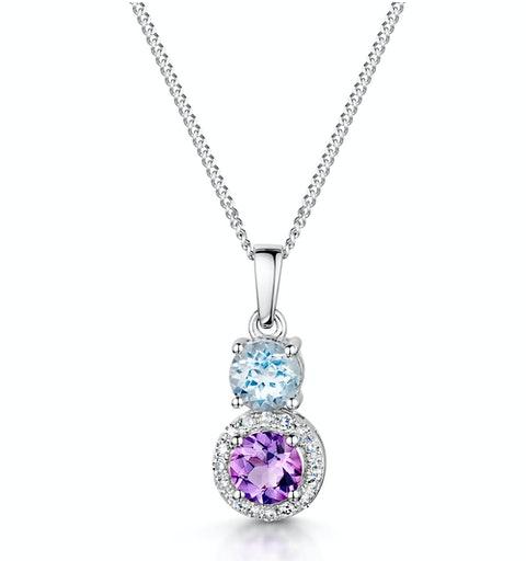 Amethyst Blue Topaz and Diamond Stellato Pendant in 9K White Gold - image 1