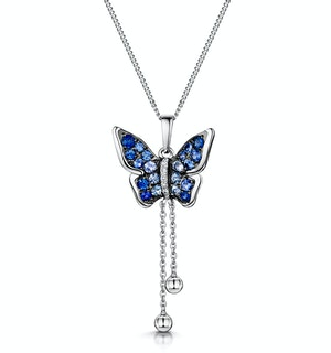 Stellato Sapphire Diamond Butterfly Pendant Necklace 9K White Gold