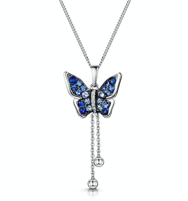 Stellato Sapphire Diamond Butterfly Pendant Necklace 9K White Gold - image 1