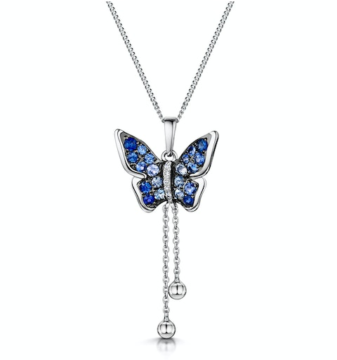 Stellato Collection Sapphire Diamond Butterfly Pendant 9K White Gold - image 1