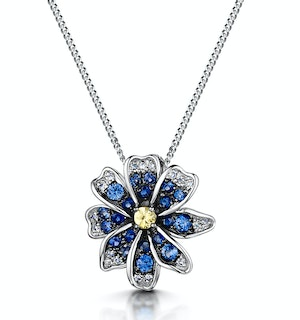 Blue and Yellow Sapphire Diamond Stellato Pendant in 9K White Gold