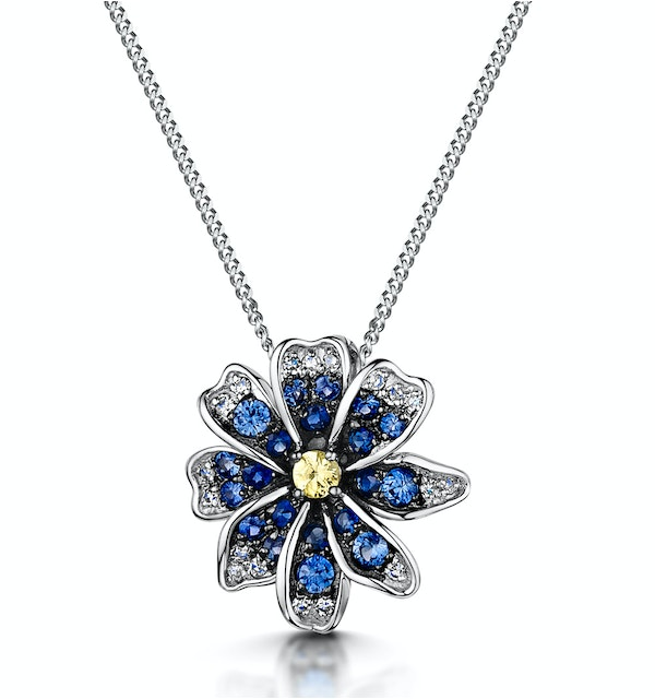 Blue and Yellow Sapphire Diamond Pendant Necklace in 9K White Gold - image 1