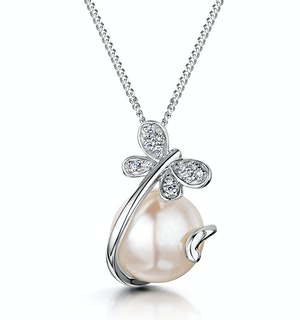 7.5mm Button Pearl and Diamond Stellato Pendant in 9K White Gold