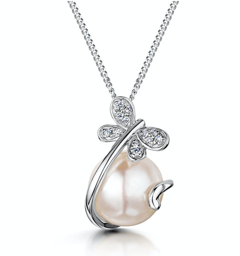 7.5mm Button Pearl and Diamond Stellato Pendant in 9K White Gold - image 1