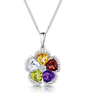 Citrine Garnet Peridot Blue Topaz Diamond Stellato Pendant 9KW Gold