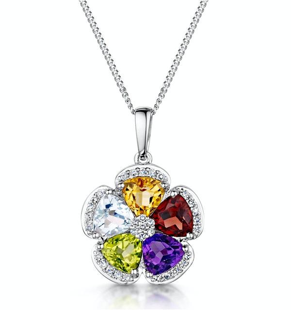 Citrine Garnet Peridot Blue Topaz Diamond Stellato Pendant 9KW Gold - image 1
