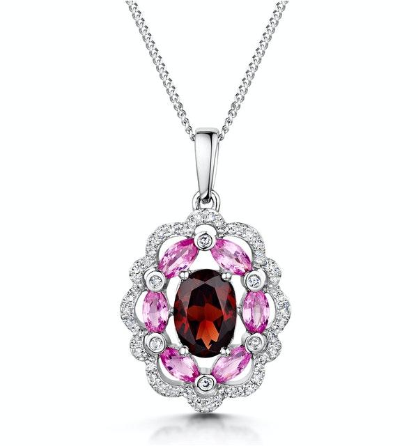 Garnet Pink Sapphire Diamond Stellato Pendant 0.14ct in 9K White Gold - image 1