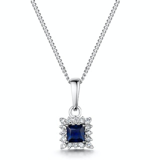 Stellato Sapphire and Diamond Pendant Necklace in 9K White Gold