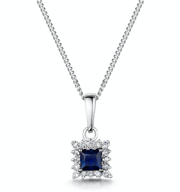 Stellato Sapphire and Diamond Pendant Necklace in 9K White Gold - image 1