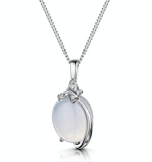 Stellato Collection Quartz and Diamond Pendant in 9K White Gold
