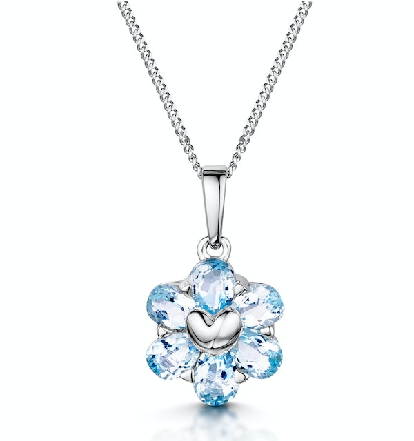Stellato Collection Blue Topaz Pendant Necklace in 9K White Gold - image 1