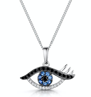 Sapphire and Diamond Evil Eye Hamsa Stellato Pendant in 9K White Gold