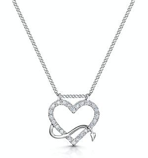 Devilish Diamond Heart Necklace in 9ct White Gold