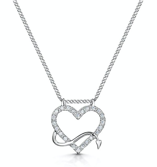Devilish Diamond Heart Necklace in 9ct White Gold - image 1