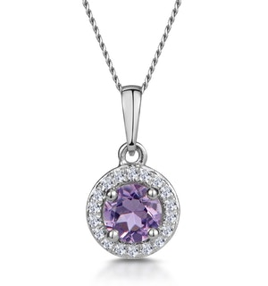0.33ct Amethyst and Diamond Stellato Necklace in 9K White Gold