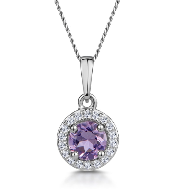 0.33ct Amethyst and Diamond Stellato Necklace in 9K White Gold - image 1