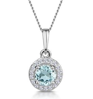 0.38ct Aquamarine and Diamond Stellato Necklace in 9K White Gold