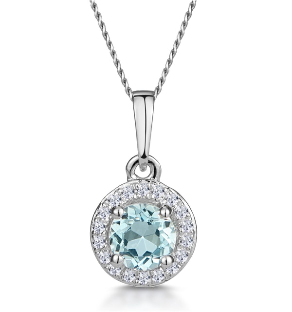 0.38ct Aquamarine and Diamond Stellato Necklace in 9K White Gold - image 1