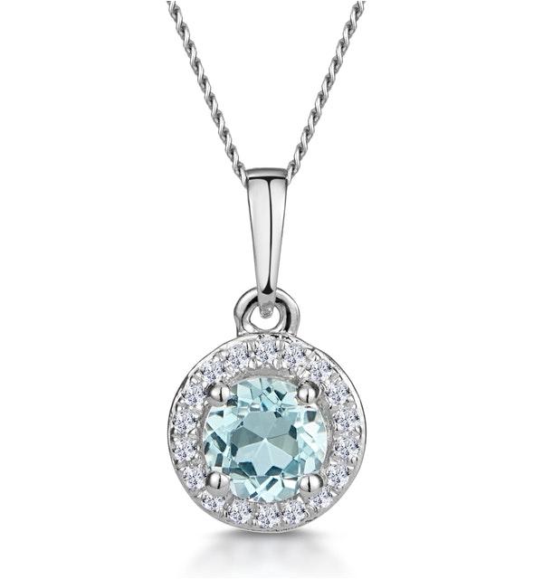 0.38ct Aquamarine and Diamond Stellato Necklace in 9K White Gold - image 1