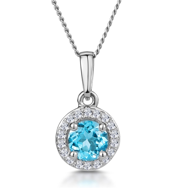 0.37ct Swiss Blue Topaz and Diamond Stellato Necklace in White Gold - image 1